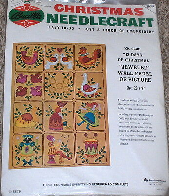 "1972 Bucilla ""12 Days of Christmas"" Felt / Jeweled Wall Panel Kit NIP 20x27"""
