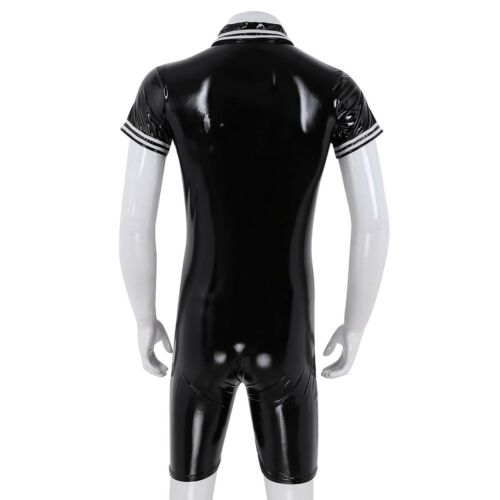 Mens Latex Rubber Bodysuit Leather Catsuit Zipper Lycra Underwear Costume