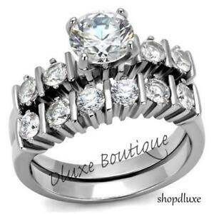 Women-039-s-Stainless-Steel-Round-Cut-CZ-Bridal-Wedding-Ring-Set-Size-5-6-7-8-9-10