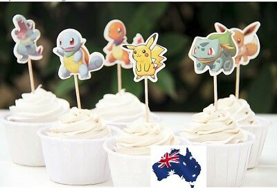 12 x POKEMON GO CUPCAKE JELLY CUP TOPPERS FRUIT PICKS PIKACHU PARTY FUN CUTE