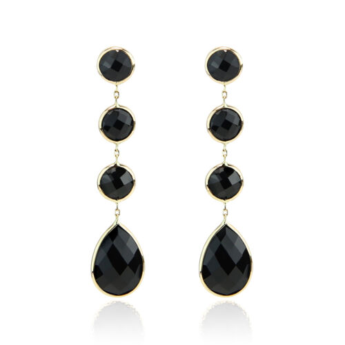 14K Yellow Gold Black Onyx Dangling Post Earrings