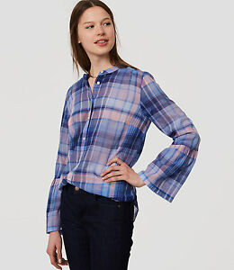 Top Front Ann Top M Taylor Sleeve Nuovo Cotton Plaid camicia a Button Blu Bell xwfagqPf5