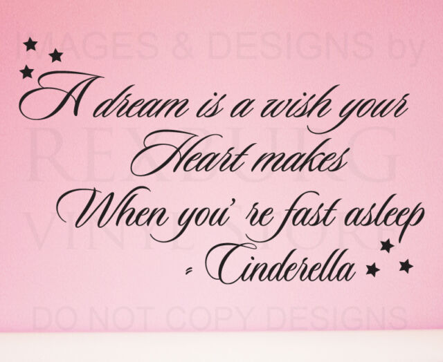 Wall Decal Art Sticker Quote Vinyl Lettering Letter Design Cinderella Disney I19
