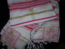 Pink & Gold Messianic Jewish Tallit Talit Prayer Shawl & Talis Bag - 72*22
