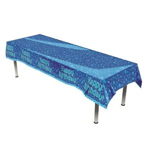 Happy Birthday Blue Star Party Table Cover Plastic Tablecloth 1 5pk