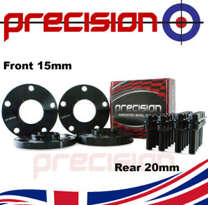 Staggered Black Wheel Spacers 15mm/20mm + Bolts for Porsche 911 (997)