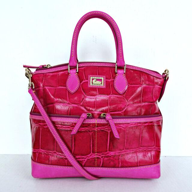 Dooney Bourke Red Croco Leather Sachel Handbag Shoulder Bag Purse Alligator Pink