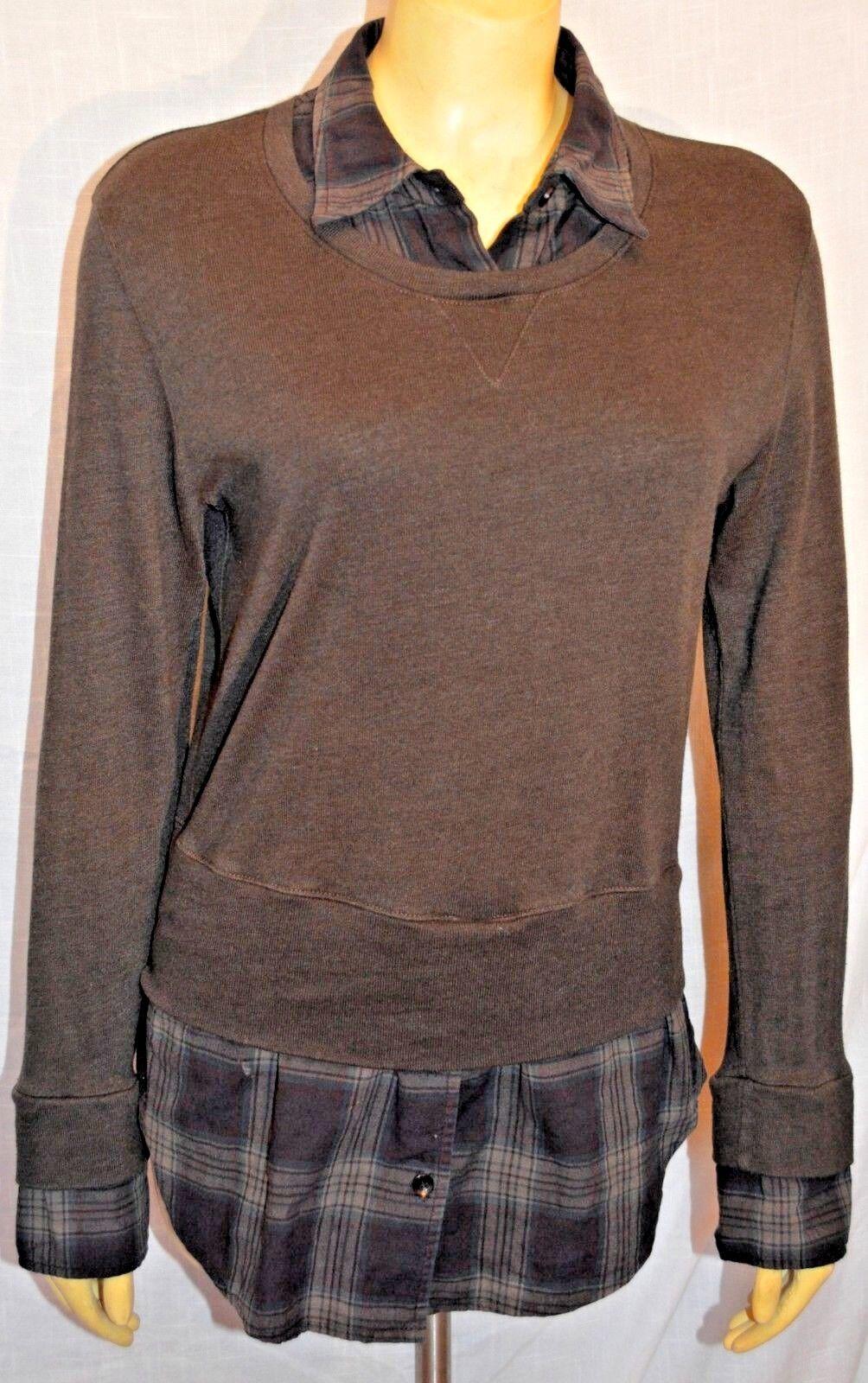 MONROW Fleece long Sleeve Sweatshirt plaid double layer Größe XS tunic EXCELLENT