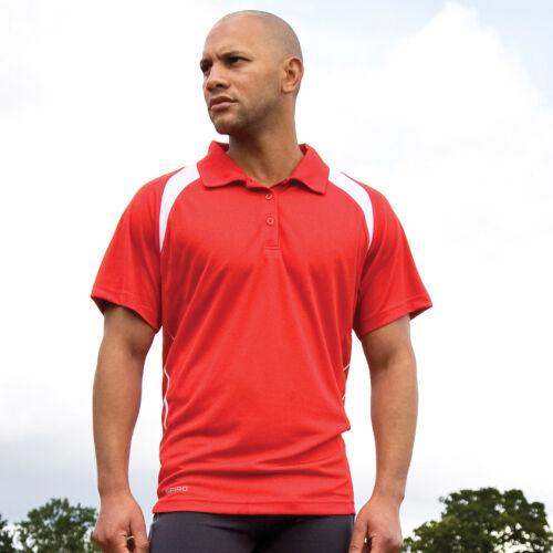 Spiro Men/'s Team Spirit Polo Shirt Lightweight Gym Runnnig Football Top S177M