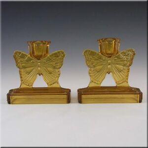 Bagley-1930-039-s-Art-Deco-Amber-Glass-039-Butterfly-039-Candlesticks