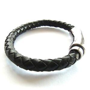 Lederarmband damen schwarz  Lederarmband Damen schwarz geflochten Herren Bikerarmband ...