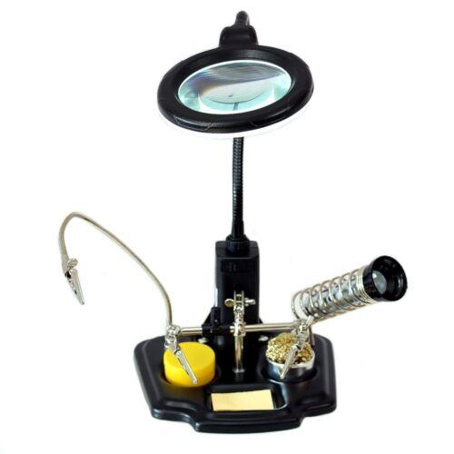 Helfende Hand Platinenhalter LED Lupenleuchte 8-D Lötkolbenablage Abstreifer