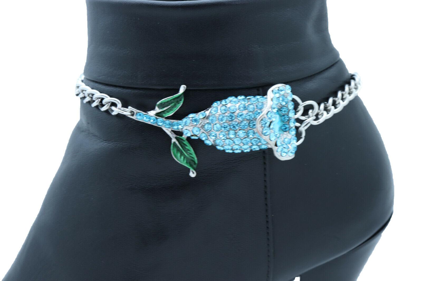 Women Silver Metal Chain Boot Bracelet Shoe Blue Flower Charm Wedding Classic