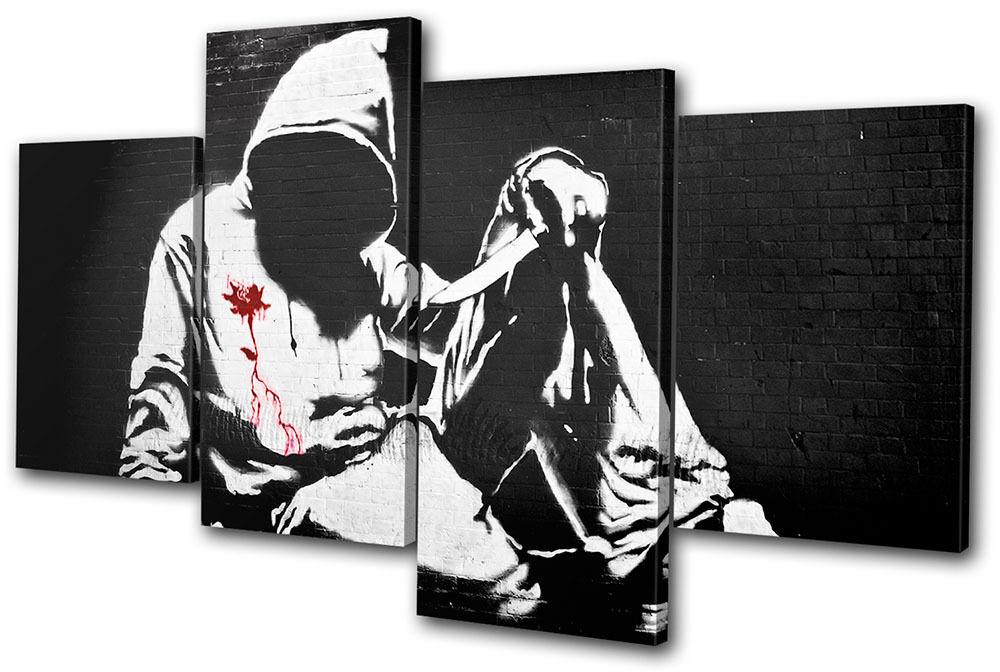 Banksy Street Hoody MULTI TOILE murale ART ART ART Photo Print 8d0742