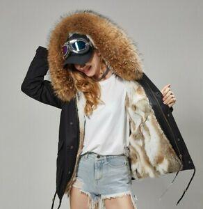 huge discount 8612a 73653 Dettagli su Parka Donna Invernale Corto Pelliccia Vera Cappotto Piumino  Pelo Vero Fur Coat