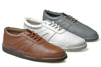 Mens Leather Wide Fitting Carpet Bowls Bowling Shoes Size 3 - 12