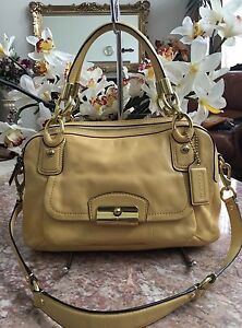 Image Is Loading Coach Kristin Yellow Leather Double Zip Satchel Shoulder