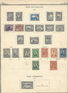 1897-1899 NEWFOUNDLAND MINT USED STAMP LOT ON ALBUM PAGE