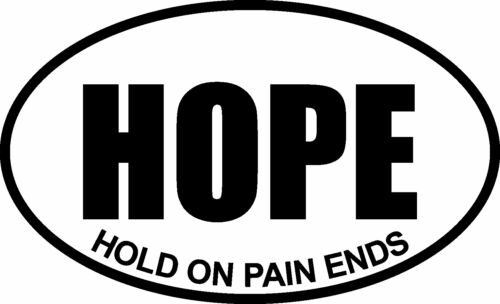 HOPE HOLD ON PAIN ENDS OVAL DECAL BUMPER STICKER FUNNY
