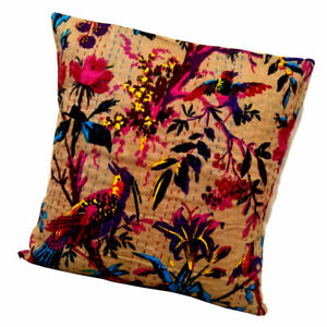16 X16 INCH BRID BIEGE BEAUTIFUL CUSHION COVER ETHNIC COTTON THROW PILLOW CASES