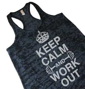 Keep-Calm-And-Work-Out-Womens-Burnout-Racerback-Gym-Tank-Top-Weightlifting-Shirt