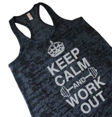 Keep Calm And Work Out Womens Burnout Racerback Gym Tank Top Weightlifting Shirt