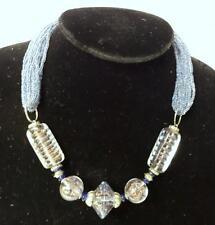 Vintage Deco Italian Venitian Blue Gold Foil Dust Glass Bead Necklace Choker