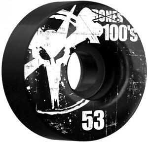 BONES-100s-OG-53mm-SKATEBOARD-WHEELS-Black-w-White-Logo-Brand-New-Set-of-4