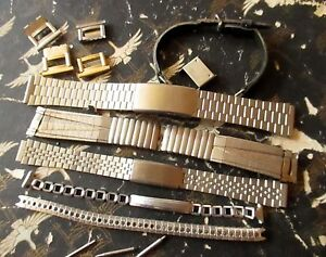 Lot-6-VTG-MEN-039-S-amp-LADIES-STAINLESS-STEEL-LEATHER-WATCH-BANDS-EXTRA-CLIPS