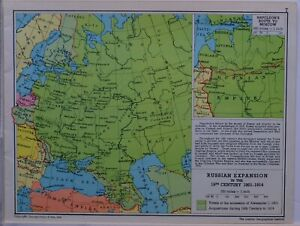1961-SOVIET-MAP-RUSSIAN-EXPANSION-19th-CENTURY-1801-1914-NAPOLEON-ROUTE-MOSCOW