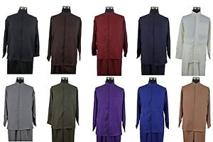 New-Men-039-s-2-piece-Mandarin-Banded-Collar-Casual-Shirt-Set-Walking-Suit-2826