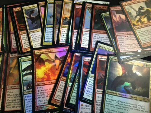 MTG Lot of 10 Different Random Dragon Creatures ALL RARE FOIL or PROMO FOIL