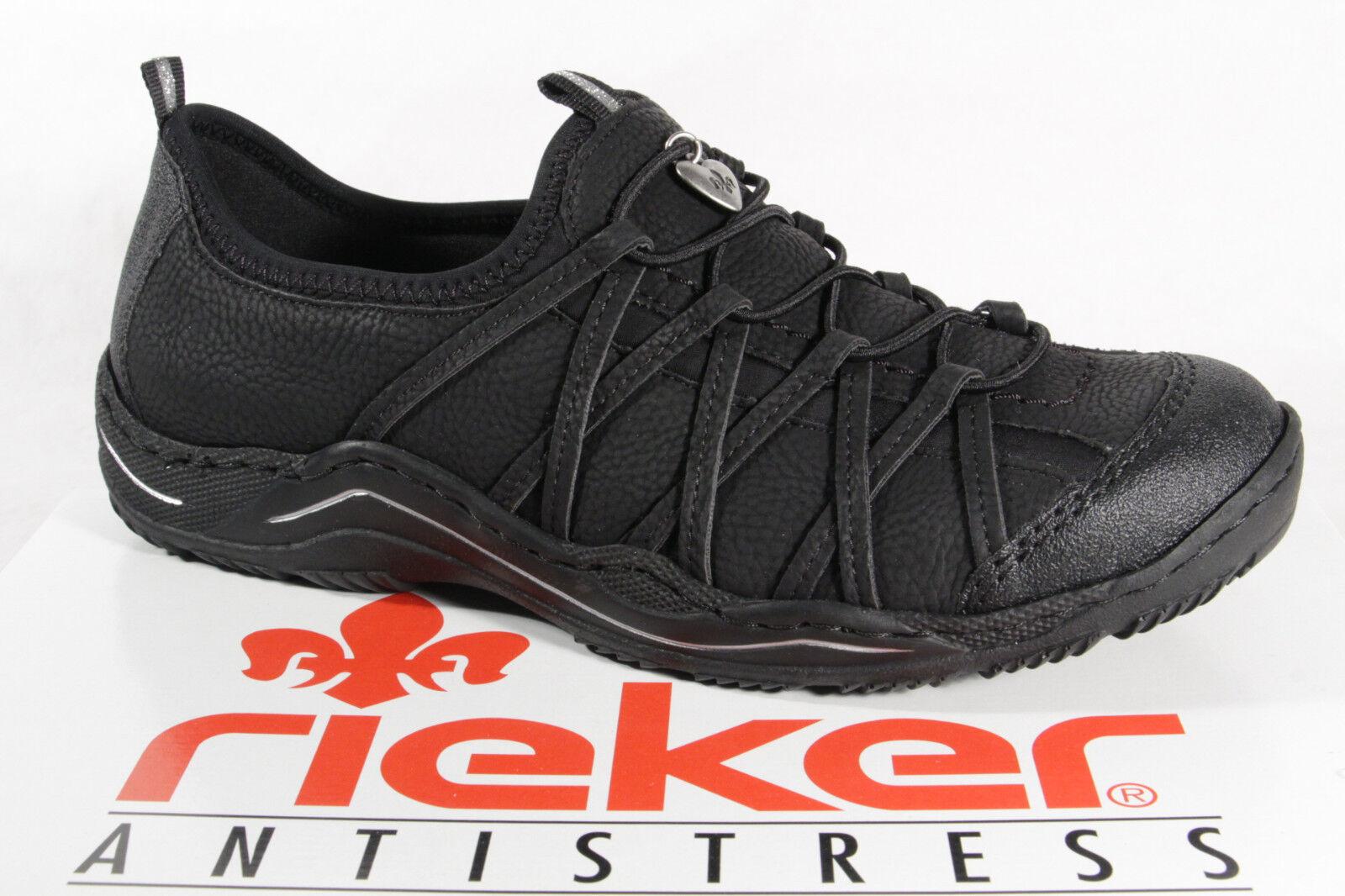 Rieker donna mocassini scarpe basse,   da Ginnastica, Nero L0551 NUOVO