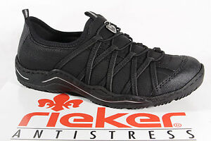 Details zu Rieker Damen Slipper Halbschuhe, Sneakers, schwarz L0551 NEU!