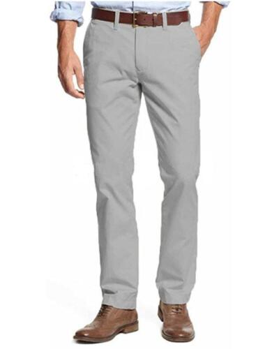 NEW MENS 38X34 TOMMY HILFIGER DRIZZLE GRAY TAILORED FIT FLAT FRONT CHINO PANTS