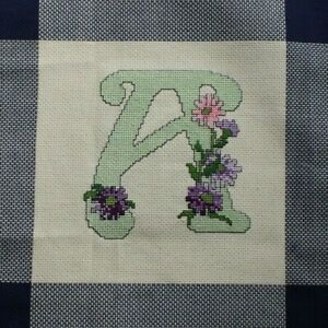 Foxglove Dark Pink Flowers Cross Stitch Completed Finished Unframed