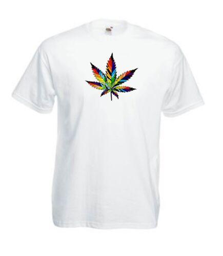 Men Women Short Sleeve T-Shirt Ganja Cannabis Marijuana Ganja Leaf Weed Rasta