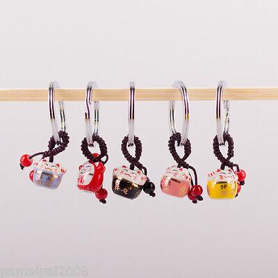 Keramik Schlüsselanhänger Glückskatze Maneki Neko Winkekatze Katze Anhänger
