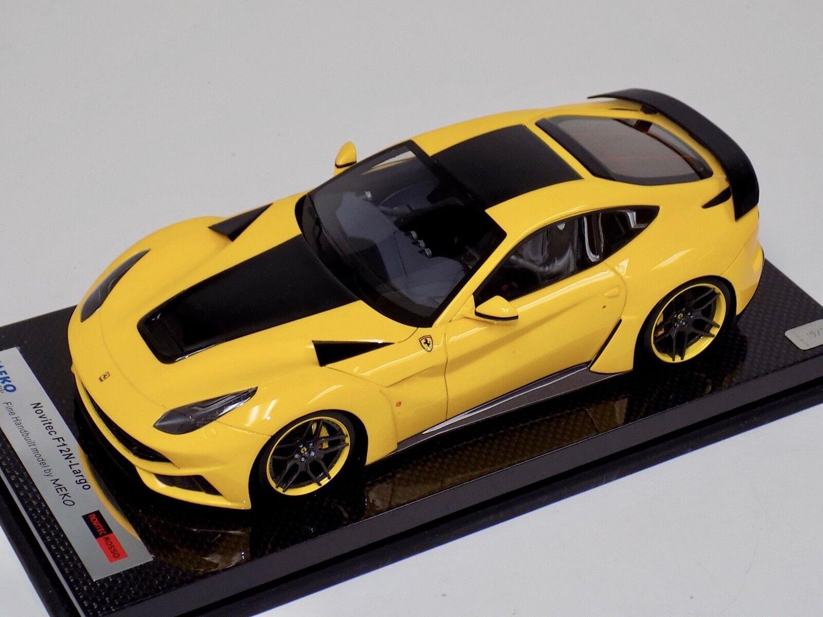 1 18 MEKO Ferrari F12 N-Largo Novitec red in Yellow on Carbon Base BBR or MR