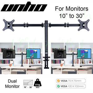 Tilt Dual Vesa Monitor Arm Stand Desk Mount Bracket Lcd