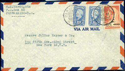 426249 Surinam Nr Auf Luftpost 1946 In Die Usa 2 239+275