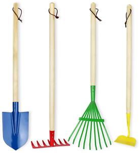 Kids Big Garden Tool Outdoor Set 4 Piece Rake Shovel Hoe Wood Handle Metal Head