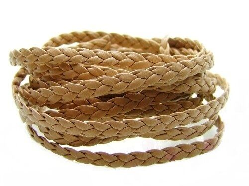 Braided Leather Cord Different color available for making Leather Bracelets - 1m