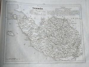Analytique 85 Vendée Gravure Carte Géographique Monin 1835 (c11-11)