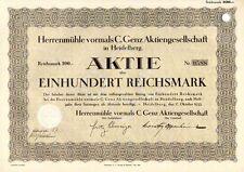 Herrenmühle vormals C. Genz AG  1933 Heidelberg