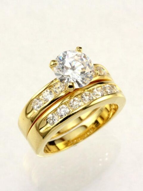 2.5 CARAT ROUND GOLD EP  WEDDING  ENGAGEMENT RING SET SIZE 5 6 7 8 9 10