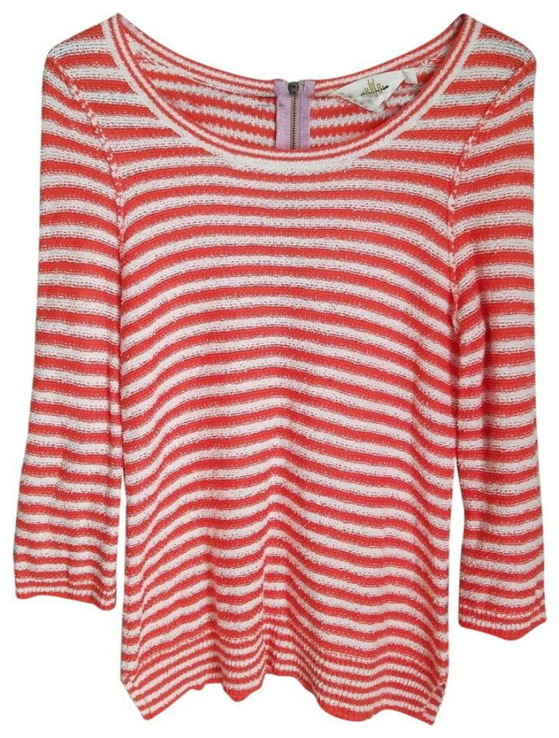 Anthropologie Anchors Away Top Small 2 4 Orange Nautical Soft COMFY Stripe Shirt