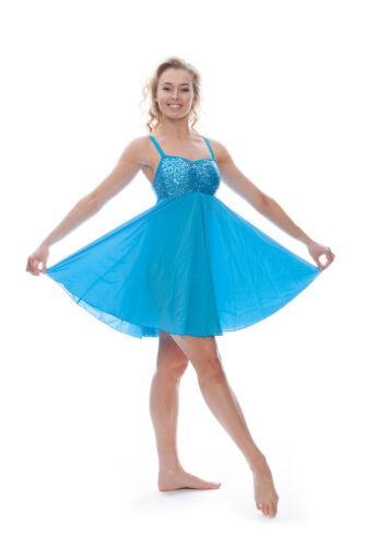 Turquoise Blue Sequin Short Lyrical Dress Contemporary Ballet Dance Costume Katz