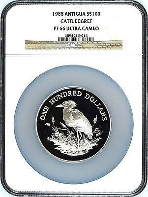 Antigua Barbuda 1988 Silver 100 Dollars Cattle Egret Caribbean Bird Ngc Pf66 Evident Effect Coins & Paper Money Coins: World