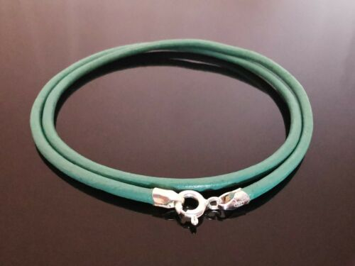 """2.5mm Turquoise Leather Sterling Silver Necklace Or Wristband 16/"""" 18/"""" 20/"""" 22/"""""""
